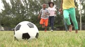 four people : Slow Motion Sequence Of Family Playing Soccer In Park Stock Footage