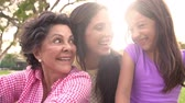 mama : Slow Motion Shot Of Grandmother, Granddaughter And Mother