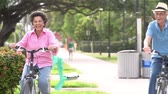 cyklus : Slow Motion Sequence Of Senior Couple Riding Bikes In Park Dostupné videozáznamy