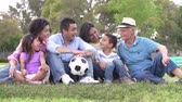 bolas : Slow Motion Shot Of Multi Generation Family With Soccer Ball Vídeos