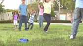 mama : Slow Motion Shot Of Multi Generation Family Playing Soccer