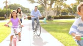 велосипед : Family Riding Bikes Through Summer Park