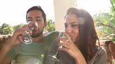 lente : Slow Motion Shot Of Couple Drinking Wine Together