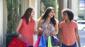 departamento : Slow Motion Shot Of Friends Shopping In Mall With Bags Vídeos
