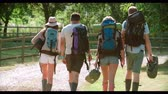 namiot : Rear View Of Young People Going Camping At Music Festival