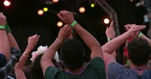 scena : Back view of friends in the audience at a music festival Wideo