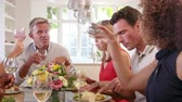 vinho branco : Mature Friends Around Table At Dinner Party Shot On R3D