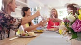 Female Friends Around Table At Dinner Party Shot On R3D Stock Footage