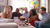 champanhe : Group Of Friends Celebrating Birthday At Home Shot On R3D
