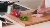 fritura : Man Follows Recipe On Digital Tablet In Kitchen Shot On R3D Stock Footage