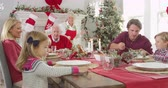 turcja : Grandmother Brings Out Turkey At Christmas Meal Shot On R3D
