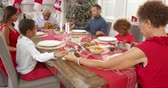 turcja : Family Saying Grace Before Christmas Meal Shot On R3D
