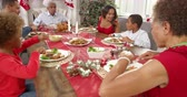 turcja : Family With Grandparents Enjoying Christmas Meal Shot On R3D
