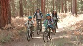 recreativa : Parents and two kids in forest cycle past and out of shot