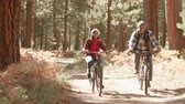 recreativa : Senior black couple cycle past camera on a forest trail Vídeos