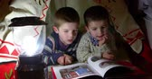 lampa : Two Young Boys Read Inside Tent Set Up Indoors