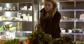consumidor : Woman Shopping For Produce In Delicatessen Stock Footage