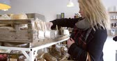 padaria : Woman Shopping For Organic Bread In Delicatessen