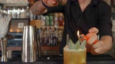 огонь : Close Up Of Bartender Making Exotic Flaming Cocktail