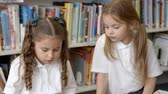 Öğrenciler : Two Female Pupils Reading In Library Stok Video