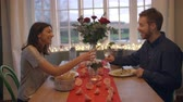 talheres : Romantic Couple Enjoying Valentines Day Meal Together
