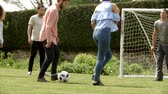 pontapé : Adult friends having fun with a football on a playing field
