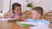 picture : Brother And Sister Coloring Picture At Table