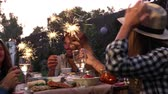 espanha : Friends With Sparklers Eating Food And Enjoying Party