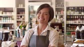 supermarket : Portrait Of Female Employee In Delicatessen Stock Footage