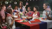 quarto : Friends Celebrating 4th Of July With Backyard Party Stock Footage
