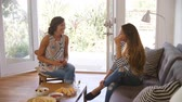 nativo : Two Female Friends Socializing Together At Home Vídeos