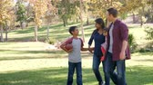 quatro pessoas : Mixed race family walking in a park, front view