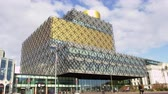 wide angle : Exterior Of The Library Of Birmingham Building Stock Footage