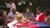 vnuk : Multi generation family barbecue, grandson stands at table, shot on R3D