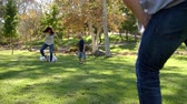 pontapé : Slow Motion Sequence Of Family Playing Soccer In Park Stock Footage