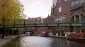 waterway : Time Lapse Of Bridge Over Canal In Birmingham City Centre Stock Footage