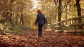 chůze : Young Girl Walking Along Path Through Autumn Countryside