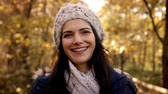 close up : Portrait Of Attractive Woman On Walk In Autumn Countryside Stock Footage