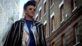 funky : Stylish Fashion Blogger Walking Along Urban Street
