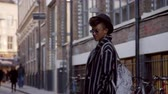 modelling : Stylish Fashion Blogger Standing In Urban Street Stock Footage