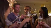 champanhe : Friends Make Toast As They Celebrate At Party Together Stock Footage