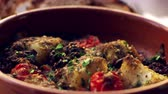 dorsz : Cod and chorizo bake in earthenware dish, close up rack focus Wideo