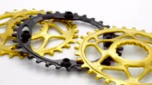 Golden and black bicycle oval chainring gear rotating at white background Dostupné videozáznamy