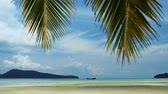 exclusivo : View of Tropical Saracen Bay beach with palm leaves on the sky. Koh Rong Samloem island. Cambodia, Asia.