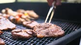 basting : Barbecue with delicious grilled meat on grill. Barbecue party. Stock Footage