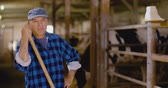 vacas : Confident mature male farmer holding pitchfork in stable