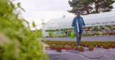 enfermagem : Confident male gardener examining potted flower plant Stock Footage
