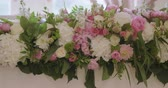 banquete : Wedding Reception Venue With White Flower Decoration Stock Footage