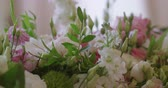 bloemstuk : Wedding Reception Venue With White Flower Decoration Stockvideo
