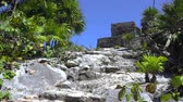 establishing shot : A static shot of the path leading the way to the blue sky gods and temple at Tulum, Mexico.